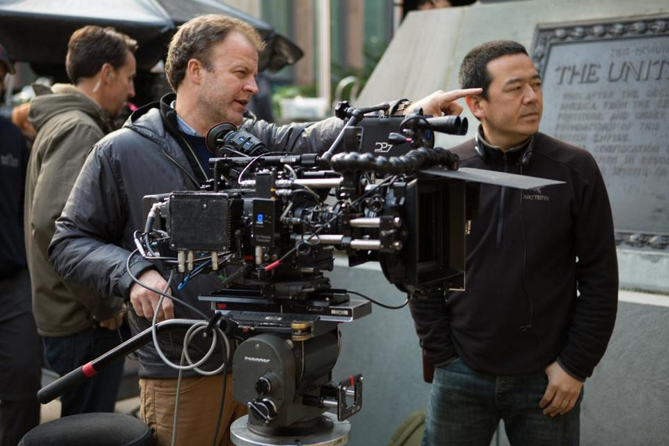 Director Tom McCarthy and Cinematographer Masanobu Takayanagi on the set of the 2015 film SPOTLIGHT.